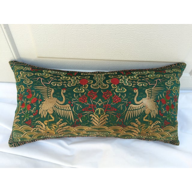 Chinoiserie Silk Crane Boudoir Pillow - Image 2 of 7