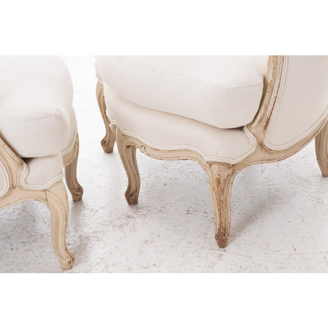 19th Century French 19th Century Louis XV Painted Bergères - a Pair For Sale - Image 9 of 11
