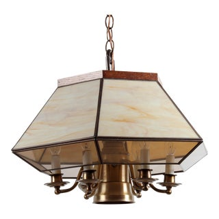 Mid-Century Arts & Crafts Wood and Glass Angular Chandelier For Sale