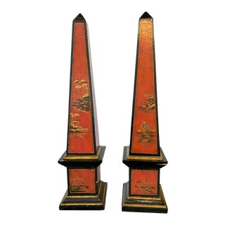 Pair Large Chinoiserie Obelisks For Sale