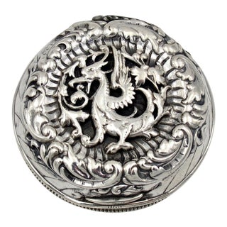 Chinese Export Style Sterling Silver Dragon Box With Gilt Interior For Sale