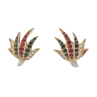 Boucher Fan-Shaped Rhinestone Earrings, 1961 For Sale