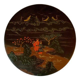 Vintage Japanese Round Lacquered Box For Sale