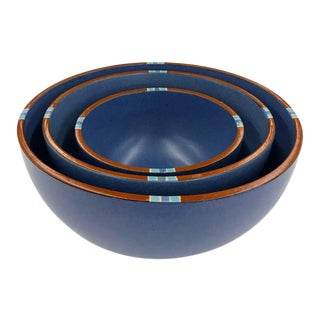 Set of 3 Blue Ceramic Bowls by Dansk For Sale