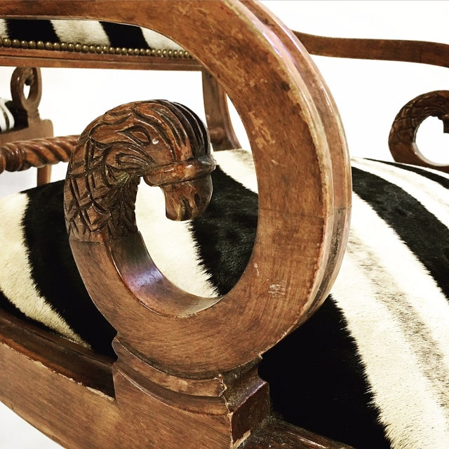Black Vintage Carved Zebra Armchairs - a Pair For Sale - Image 8 of 10