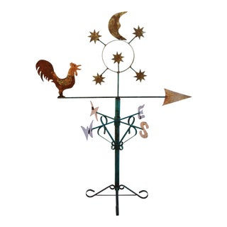 Folk Art Metal Rooster Weathervane W/ Stand