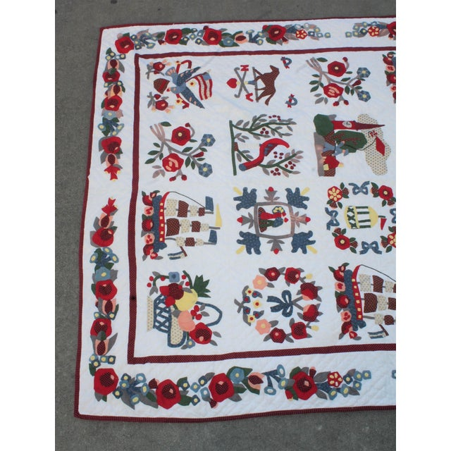 Americana 20th Century Hand Made Repro Applique Quilt For Sale - Image 3 of 8