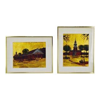 R. Smyth Philadelphia Landmark Oil and Gold Leaf Paintings - a Pair For Sale
