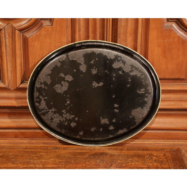 Late 19th Century 19th Century French Napoleon III Hand-Painted Oval Tole Tray With Family Scene For Sale - Image 5 of 6