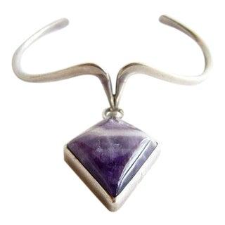 Jack Nutting Sterling + Purple Agate American Modernist Bracelet For Sale