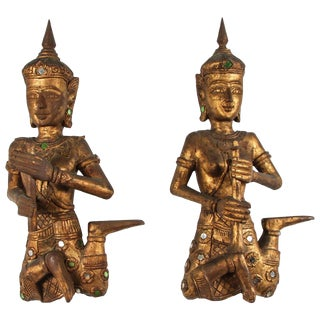Pair of Thai Figures of Siamese Musicians For Sale
