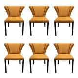 Image of Sherrill Co. Modern Camel Leather Dining Chairs Set of Six For Sale