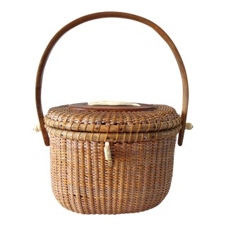 1960s Nantucket Basket With Whale Carving For Sale