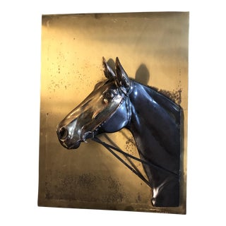 Vintage Sculptural Brass Horse Plaque Mid Century For Sale