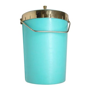 Vintage Mid Century Blue & Brass Ice Bucket For Sale
