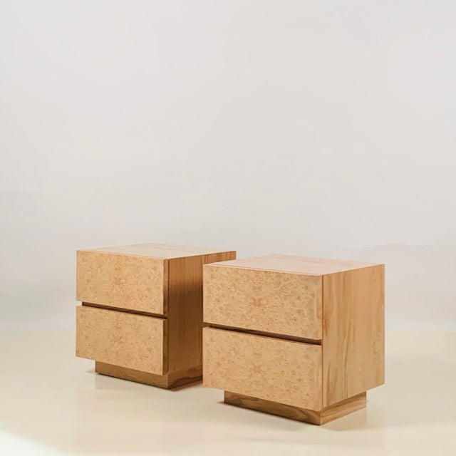 Minimalist 'Amboine' Burl Wood Nightstands by Design Frères - a Pair For Sale - Image 12 of 12