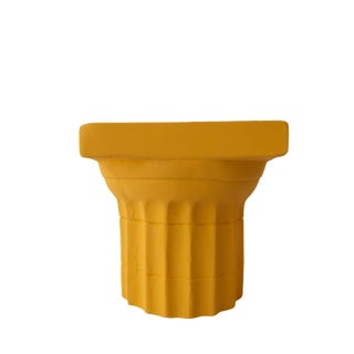 Yellow Plaster Doric Column Candle Holder For Sale