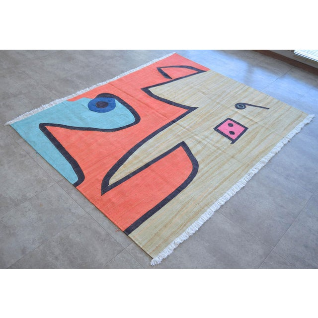 Art Deco Paul Klee - Silence of the Angel - Inspired Silk Hand Woven Area - Wall Rug 4′6″ × 5′7″ For Sale - Image 3 of 11