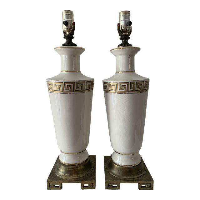 Regency Greek Key Table Lamps - a Pair For Sale