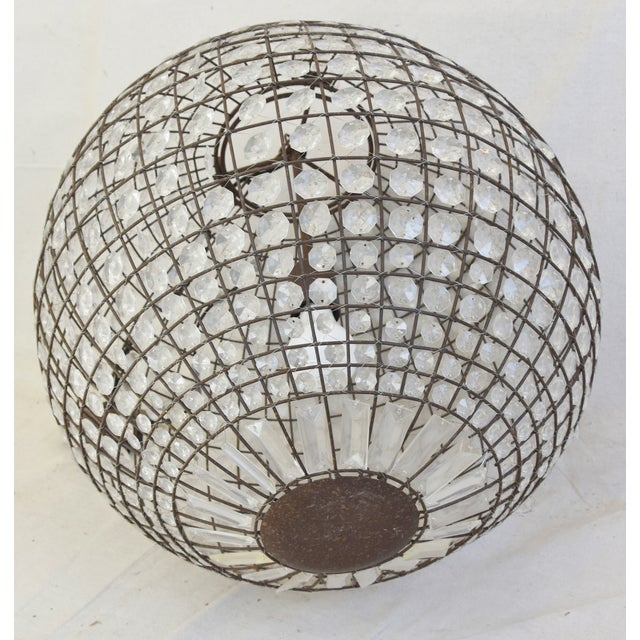 Late 20th Century Crystal Prism Sphere Ball Chandelier For Sale - Image 9 of 13