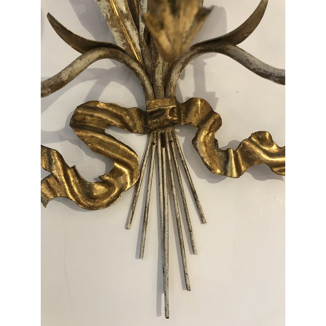 Gold Gilt Iron Carved Wood French Tulip Motife Candle Sconces -Pair For Sale In Philadelphia - Image 6 of 13