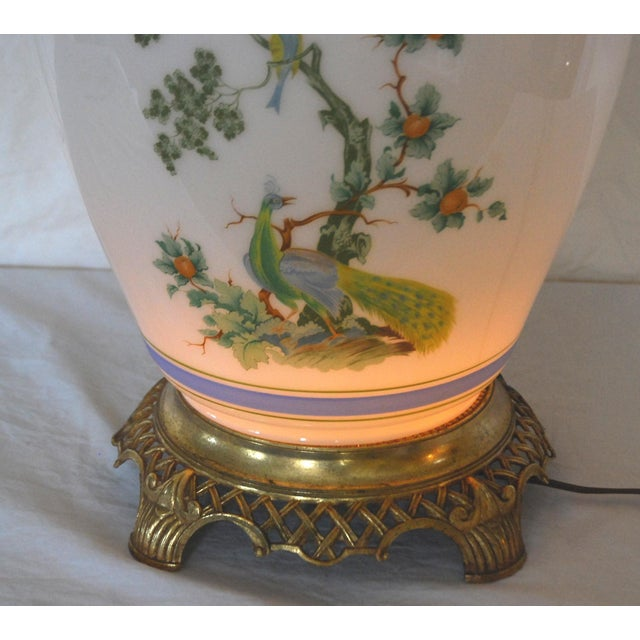 Vintage Asian Style Green Blue Peacock Ginger Jar Table Lamp For Sale - Image 5 of 8