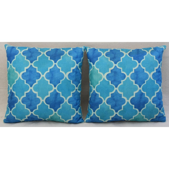 BoHo Chic Moroccan Tiles Linen Feather/Down Pillows - Pair - Image 3 of 11