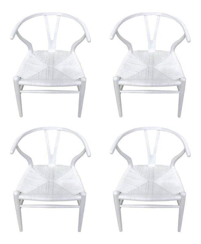 Hans Wegner Wishbone Chairs, CH24 In White   Set Of 4