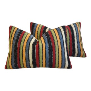 """Boho Chic Colorful Striped Turkish Carpet Feather/Down Pillows 24"""" X 16"""" - a Pair For Sale"""
