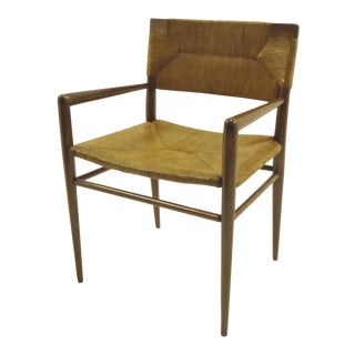 1956 Mel Smilow for Smillow Thielle Danish Modern Walnut and Woven Rush Armchair For Sale
