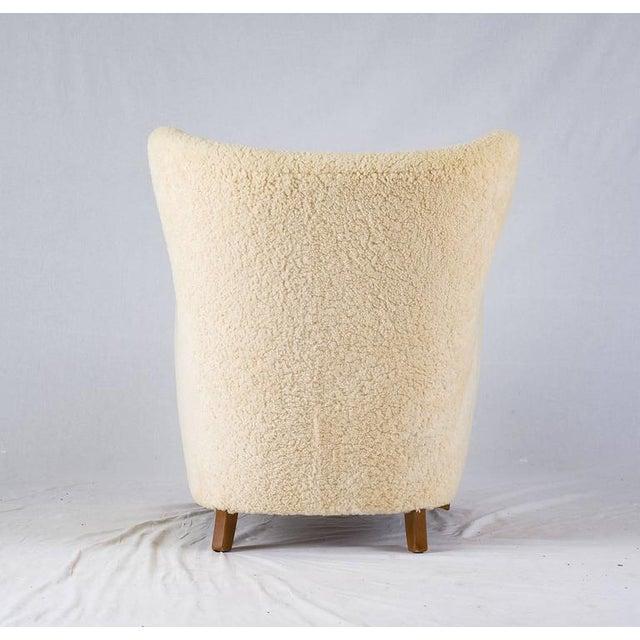 Wood Scandinavian Sheepskin Lounge Chair For Sale - Image 7 of 10