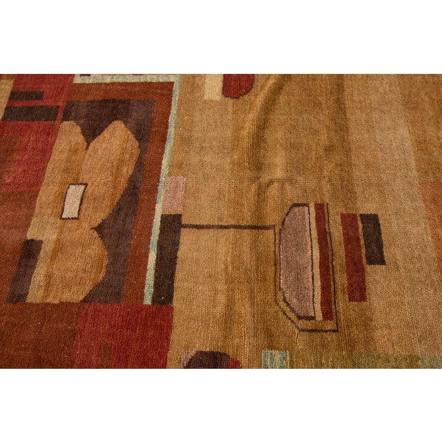 Vintage Art Deco Style Square Wool Rug For Sale - Image 11 of 13