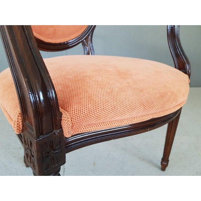 Louis XVI Velvet Upholstery Arm Chair For Sale - Image 10 of 13