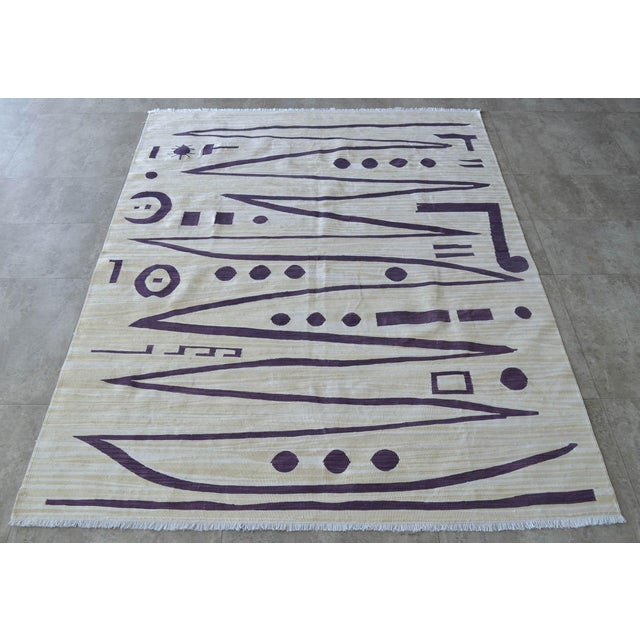 2010s Paul Klee - Heroic Strokes of the Bow - Inspired Silk Hand Woven Area - Wall Rug 4′9″ × 6′3″ For Sale - Image 5 of 10