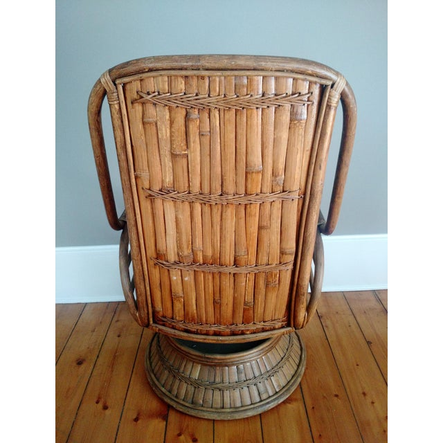 Vintage High-Back Bamboo Lounge Chair - Image 4 of 8