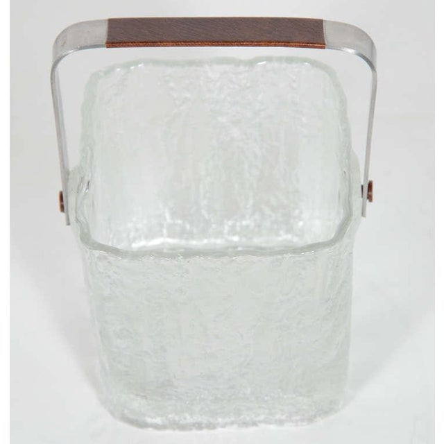 Vintage Ice Bucket With Textured Ice Cube Glass Design For Sale - Image 4 of 11