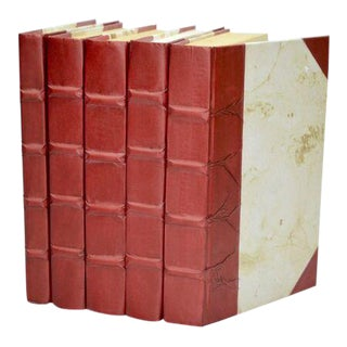 Parchment Collection Merlot Red Books - Set of 5 For Sale