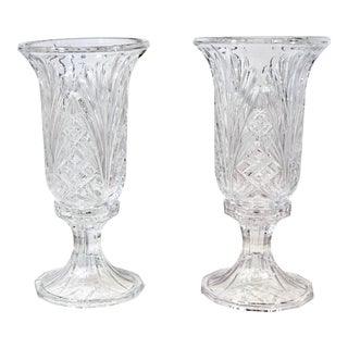 Pair of Cut Crystal Vintage Hurricane Shades and Stands Deep Fan Diamond Cuts Heavy Candle Holders For Sale