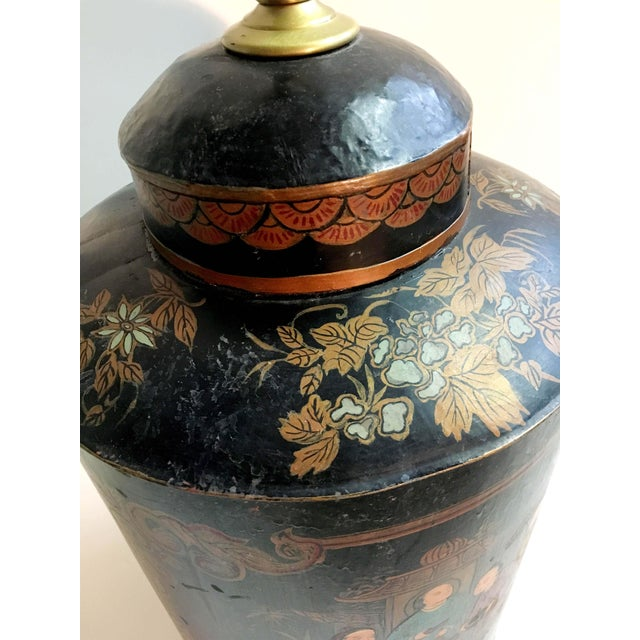 Asian Vintage Black Handpainted English Tea Caddy Lamp For Sale - Image 3 of 5
