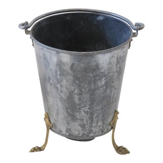 Vintage Coal Scuttle or Ash Bucket With Brass Lion Feet For Sale