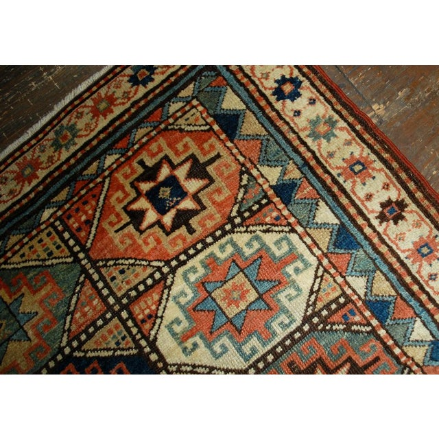 1880s Antique Hand Made Caucasian Kazak Mohan Rug- 3′10″ × 7′9″ For Sale - Image 9 of 10