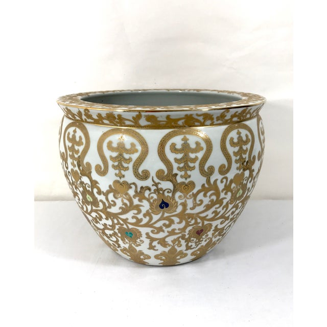 Asian Vintage Porcelain Oriental Hand Painted Gilt Goldfish Bowl - Planter For Sale - Image 3 of 10