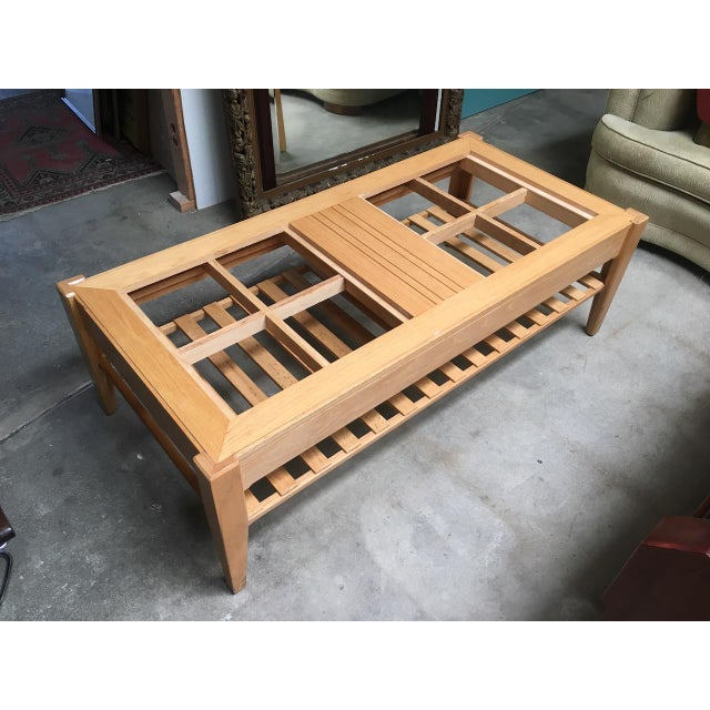 Wood Studio Solid Oak & Pink Marble Insert Coffee Table For Sale - Image 7 of 9