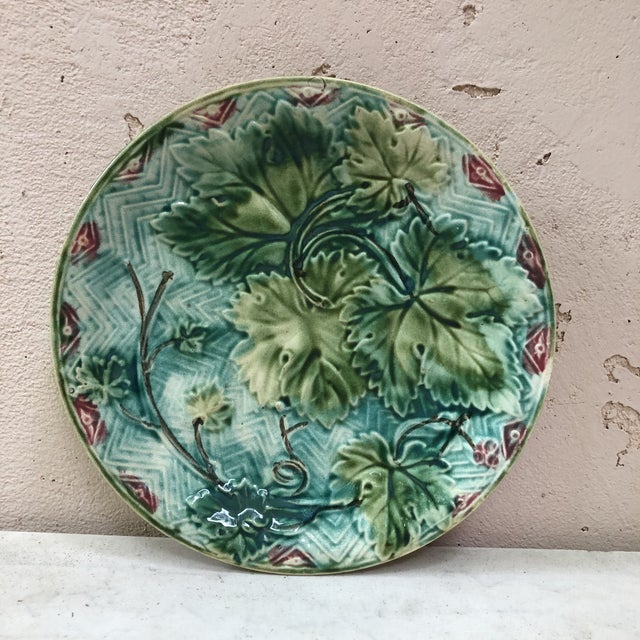 French Majolica Grape Leaves Plate Onnaing, Circa 1900 For Sale In Austin - Image 6 of 6