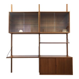 1960s Danish Modern Paul Cadoviu Teak 2-Bay Wall Shelving For Sale