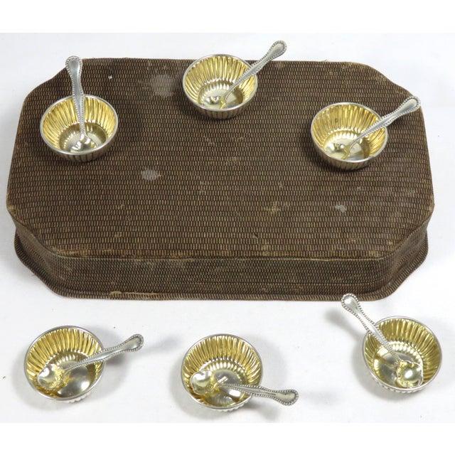Vintage Sterling Silver Open Salt Cellars & Spoons - 12 Piece Set For Sale - Image 4 of 13