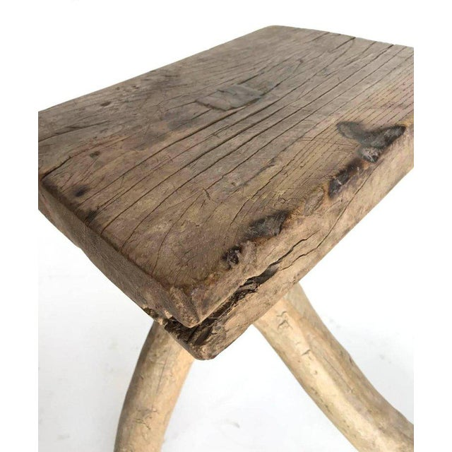 Wood Rustic Vintage Three-Legged Elmwood Stool For Sale - Image 7 of 10