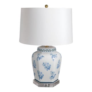 Madcap Cottage Blue/White Floral Porcelain Jar Table Lamp For Sale