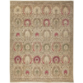 "New Pink Suzani Hand-Knotted Rug - 9'1"" x 10'3"" For Sale"