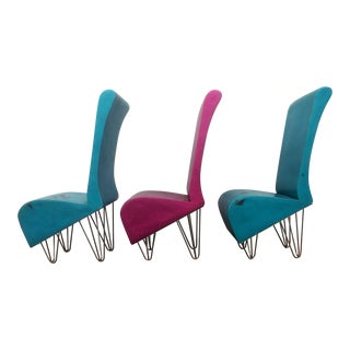 Vintage Pink & Blue Chairs - Set of 3